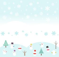 雪と雪だるまのフレーム