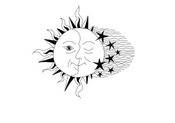 Abstract sun and moon drawing