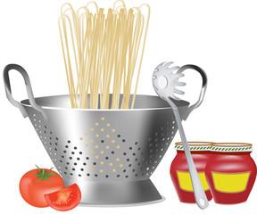 scolapasta con spaghetti