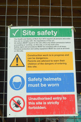 Construction site health and safety signs