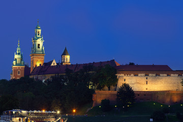 Wawel is a fortified architectural complex erected on the left b