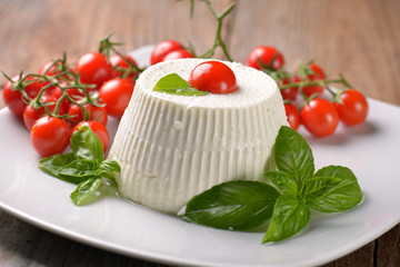 Ricotta with basil and cherry tomatoes