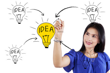 Creative woman drawing her idea concept