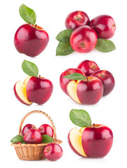 set of 6 red apple images