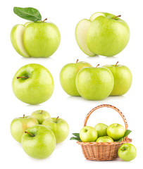 set of 6 green apple images
