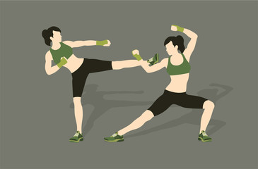 Young woman fighting body combat