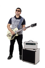 Guitarist with guitar and amplifier