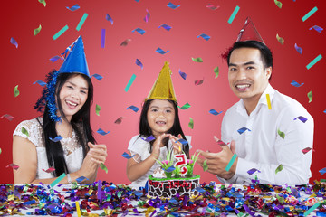 Happy family celebrate birthday party