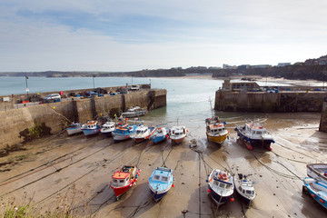 Boats Newquay harbour North Cornwall England UK