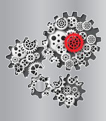 gearwheel mechanism background. Vector illustration