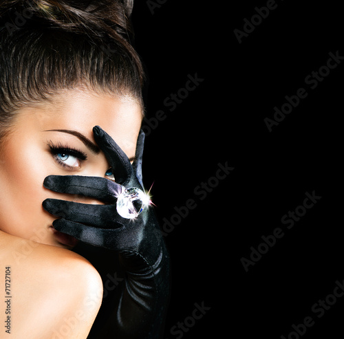 Vintage Style Mysterious Woman Wearing Black Gloves - 71727104