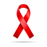isolated red ribbon symbol aids