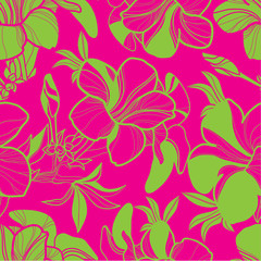 Vector seamless floral pattern with bright colorful flowers