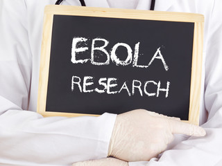 Doctor shows information: Ebola research