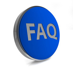 faq circular icon on white background