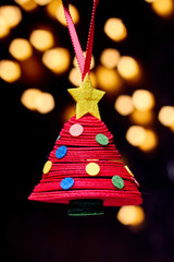 Abstract christmas tree with lights, portrait view