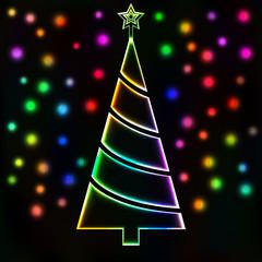 Glowing Christmas tree and lights card, Merry Christmas