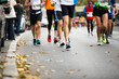 Marathon running race, people feet