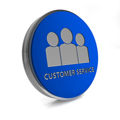 Customer service circular icon on white background