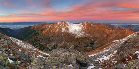 Mountain sunrise landscape panorama, Slovakia