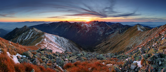 Mountain sunset panorama in West Tatras