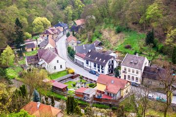 Aerial view of Krivoklat village