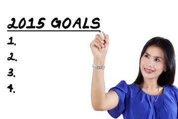 Worker makes her goals in 2015
