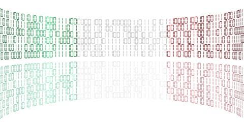 Datenstrom in den Farben der italienischen Flagge