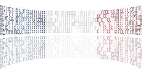 Datenstrom in den Farben der französischen Flagge