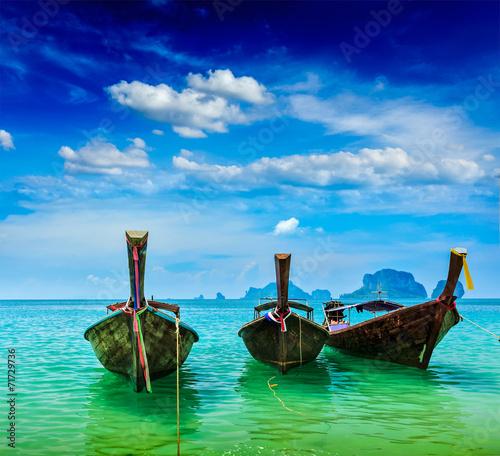 Long tail boats on beach, Thailand - 71729736