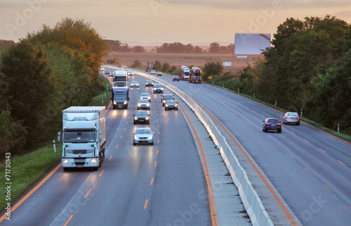 canvas print picture Highway with cars and Truck