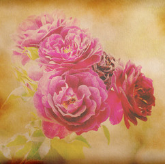 Old paper background with pink flower