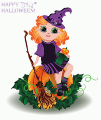 Happy Halloween. Little  witch and pumpkin doll , vector