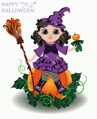 Happy Halloween. Little cute witch with pumpkin doll