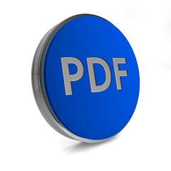 Pdf circular icon on white background