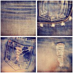 set  jeans texture  background old retro vintage style