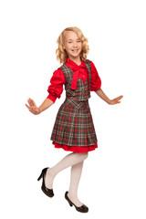 little blonde girl wearing plaid dress