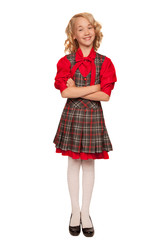little blonde girl wearing plaid dress
