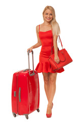 beautiful blonde woman wearing red dress holding big bag and sui