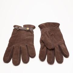 Brown velvet gloves isolated on white