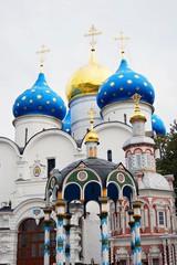 Dormition church domes in Trinity Sergius Lavra
