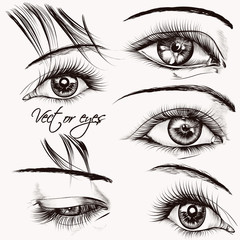 Collection of  beautiful vector hand drawn female eyes for desig