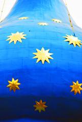 Golden stars on blue church cupola. Trinity Sergius Lavra