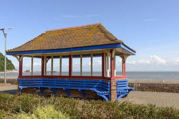 roofed blue bench at Minehead, Somerset