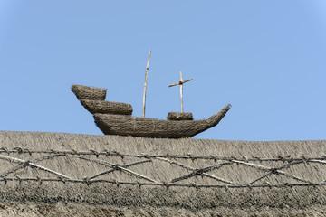 straw ship on straw roof  at Porlock, Somerset