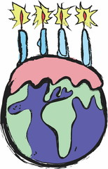 doodle birthday planet earth