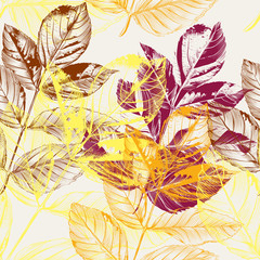 Beautiful seamless wallpaper pattern with autumn leafs