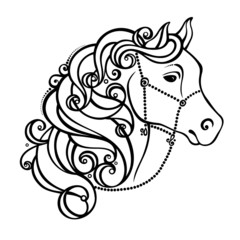 Vector Decorative Horse with Patterned Mane. Patterned design