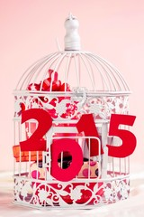 Decorative cage with Christmas gifts and letters 2015,