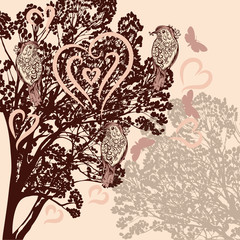 Cute background with vector tree and birds